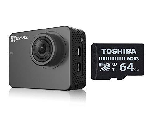 Ezviz S2 Lite Sport & Dash Camera da 64GB, risoluzione Full HD, WiFi, Bluetooth 4.0, modalità Sport e Guida, scheda Toshiba MicroSD 64GB Classe 10 inclusa, Grigio