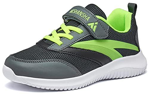 Mishansha Straßenlaufschuhe Mädchen Atmungsaktiv Leicht Turnschuhe Jungen Sneakers Kinder Outdoor Fitnessschuhe Grau 34