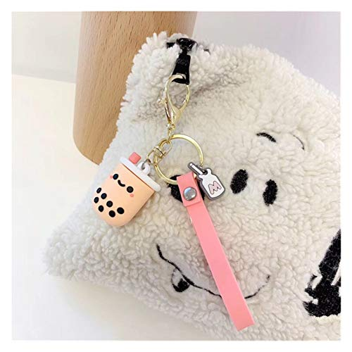 Schlüsselbund Silikon-Perle Milch Tee Netter Keychain Luxus Kawaii Schlüsselanhänger for Damen Mädchen-Tasche Auto-Charme-Zusatz-Geschenk Schlüsselanhänger Kreativität ( Color : Pink , Size : 10 cm )