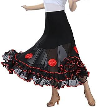 CISMARK Elegant Micro Fiber Long Swing Ballroom Latin Dance Skirt For Girls 001red One Size