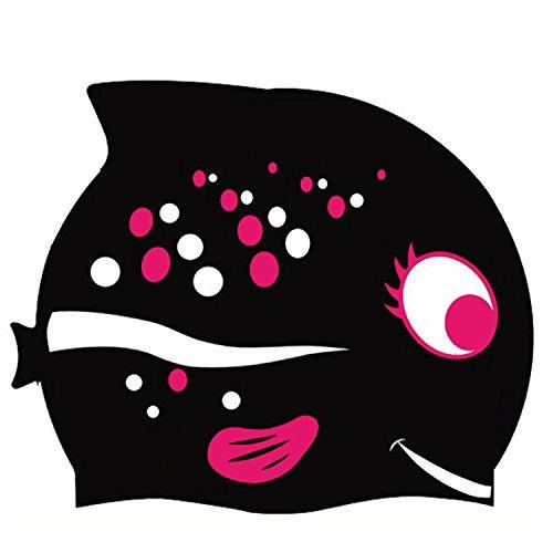 Gorra de natación diseño divertido gorra de natación de silicona para niños - patrón de dibujos animados (rosa, estándar) (Standard, Black)