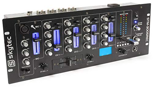 Skytec STM-3005REC 4-Kanal DJ-Mischpult DJ Mixer mit USB (REC, 3-Band Equalizer, Mikrofonsektion, Talkover, MP3-Bediensektion) schwarz