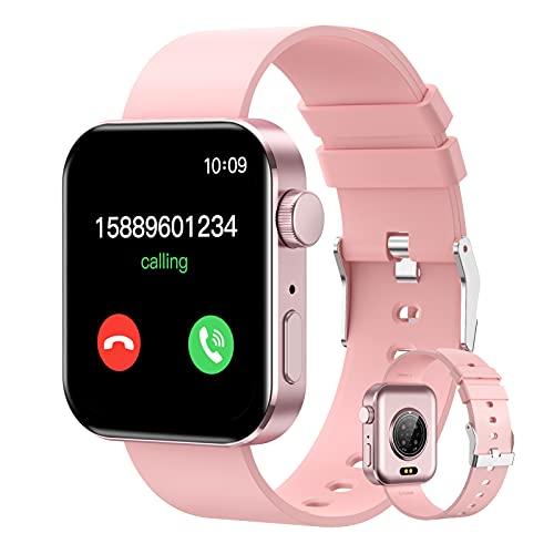 BNMY Smartwatch Hombres Reloj Inteligente Pulsómetros Monitor De Actividad Recordatorio De Notificación Conexión Bluetooth Podómetro Reloj De Fitness Deportivo Compatible con iOS Android,Rosado