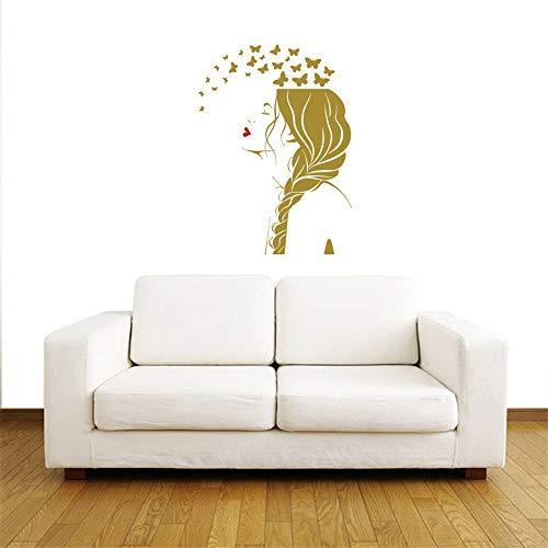 Salon de beauté fille cheveux coiffeur coiffure tressage filles sexy autocollant mode chambre décor autocollant mural stickers muraux chambre