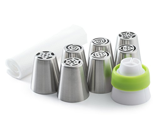 Bellemain Russian Piping Kit Includes 7 Tips, 3-Way Coupler & 10 Disposable Pastry Bags