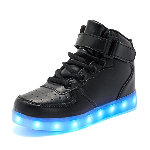 Rojeam Unisex Erwachsene High-Top LED Schuhe Sportschuhe USB Lade Outdoor Leichtathletik Beiläufige Paare Schuhe Sneaker Für Damen Herren Jungen Mädchen Kinder Schwarz 33 EU