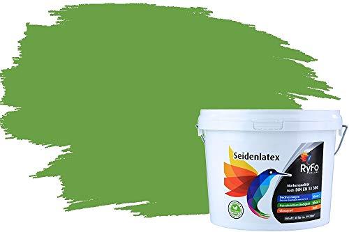 RyFo Colors Seidenlatex Trend Grüntöne Schilfgrün 3l - bunte Innenfarbe, weitere Grün Farbtöne und Größen erhältlich, Deckkraft Klasse 1
