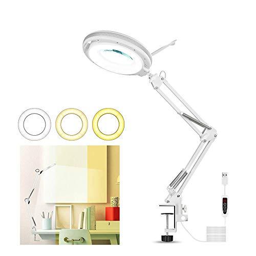 LED-förstoringslampa, justerbar 5 x förstoringslampa, skrivbordslampor, 3 lägen, dimbar, 10,5 cm diameter, glas USB-förstoringslampa med justerbar svängarm för läsning, kontor, arbetsbänk (vit)