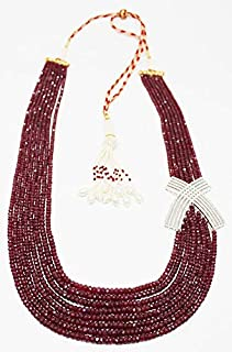 Jewel Beads Natural Beautiful jewellery 25% discount Vintage 800 Carats Multi Strand Ruby Necklace/Faceted Rondelle beads gemstone/Ruby gemstone necklace 8 strand Metal Bronze Size- 2mmCode:- BB-134