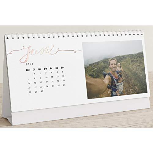 Fotokalender 2021 mit Veredelung in Roségold, Unsere Momente, Kalender für Digitale Fotos, Tischkalender zum Aufstellen mit persönlichen Bildern, Querformat 260x120