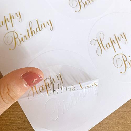 BLOUR 60 Uds, Diseño Transparente Redondo, Pegatinas de Sello de Feliz cumpleaños, Pegatina de Regalo Decorativa DIY, Etiqueta Impermeable de Gran tamaño para cartón de Pastel