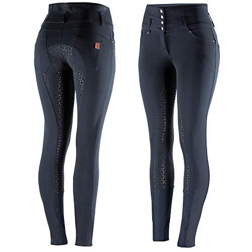 HORZE Pantalon d'équitation Taille Haute Tara, Silicone, Fond intégral, Femme, Bleu, 38