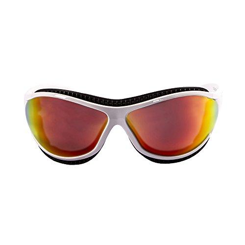 Ocean Sunglasses Tierra de Fuego - Gafas de Sol polarizadas - Montura : Blanco Mate - Lentes : Amarillo Espejo (12201.3)