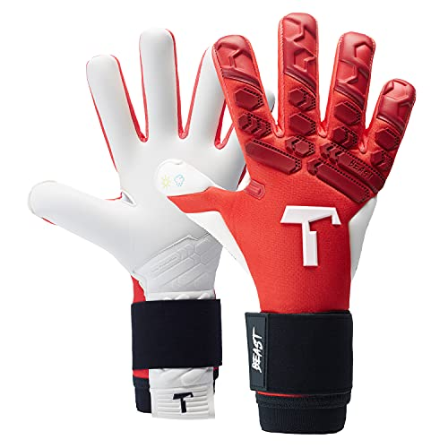 T1TAN Red Beast 2.0 Torwarthandschuhe mit Fingerschutz, Fußballhandschuhe Herren & Erwachsene - 4mm Profi Grip - Gr. 8
