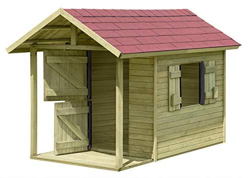 Spielhaus Louis Gartenhaus aus Holz mit Fußboden für Kinder mit Terrasse TÜV