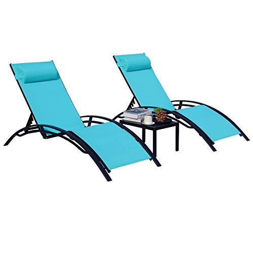 GARTIO Patio Chaise Lounge Chair Aluminum 3 Set w/Table, Adjustable 4 Gears Sunbathing Deck Chair Portable Outdoor w/Headrest, for Poolside, Beach, Backyard, Lawn, Porch, Deck, Garden, 330lbs Max Load