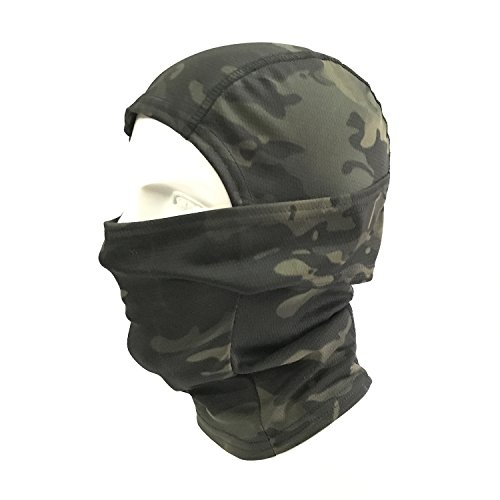 WorldShopping4U Ninja Hood Camouflage Balaclava Tactical Airsoft Outdoor Caccia flessibile Full Face Mask protettiva (BlackMC Camo)