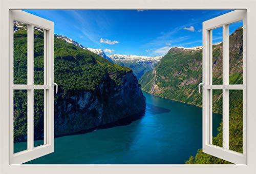 Unified Distribution Geirangerfjord Fjord Norwegen - Wandtattoo mit 3D Effekt, Aufkleber für Wände und Türen Größe: 92x61 cm, Stil: Fenster