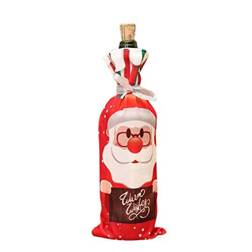 Binghotfire Bolsa de la Cubierta del sostenedor de la Botella de Vino Tinto de Navidad Elf Champagne Conjunto de Botella de Vino Tinto Red Santa