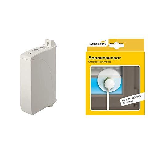 Schellenberg 22735 Elektrischer Gurtwickler Aufputz RolloDrive 35, bis 4 m² Rollladenfläche, für 14 bis 15 mm Gurtbreite & 22746 Sonnensensor für Rolladen Gurtwickler ROLLODRIVE 35 und 45