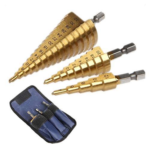 bit Spiral Step Incluyen 4-12mm / 4-20mm / 4-32mm 1/4 Hex Shank Cone Cone Titanium Recubierto de Alta Velocidad Acero Multi-Functi 3 Paquetes (Color : Straight Groove)