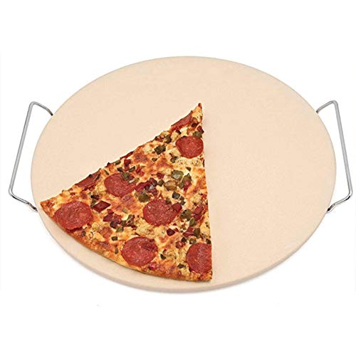 DZAY Pizza Steinplatte Grill Rund, Pizzastein Aus Cordierit Mit Cutter Und Tragegriffen Cordierit Pizza Stein, Pizza Stein Backstein Für Backofen Und Grill Steinpizzaplatte/Ofenplatte (35 * 35 * 6cm)