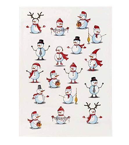 Kracht Reducción de paños de cocina para Navidad de media lino, muñecos de nieve, 2 unidades, 50 x 70 cm