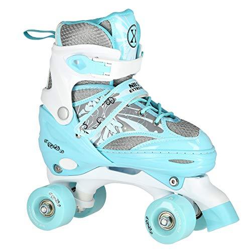 Nils Rollschuhe für Kinder und Erwachsene Quad Skates ABEC 7 verstellbare Größe 31-34 35-38 (Blau, 31-34)