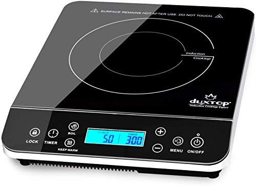 Duxtop Induktionskochplatte,einzel Induktionskochfeld mit LCD-Display Sensor-Touch-Steuerung, 10-Stunden Timer und Sicherheitsschloss, 20 Leistungsstufen, 20 Temperaturstufen, 2100W