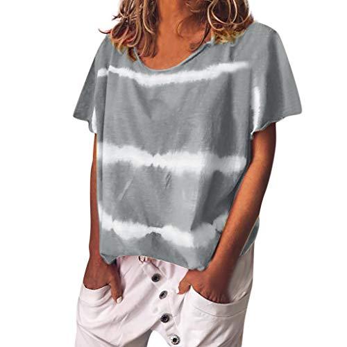 Kviklo Deman Plus Size T-Shirt Top Gebatiktd Streifen Druck Fashion Loose Bluse Oversize(2XL(46),Grau)