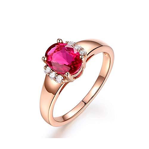 Daesar Anillo Mujer Oro Rosa 18K Anillo Sangre de Paloma Natural Turmalina Roja Oval 1.30ct Diamante 0.09ct Anillo Talla 6,75