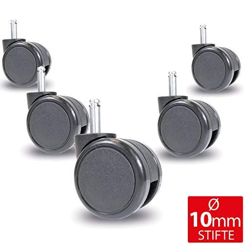 OfficeWorld Range Stuhlrollen 5er Set für Teppichboden Ø 65mm - Ø 10 mm x 32 mm, 25 mm oder 20 mm Stiftlänge - Ungebremst - mit Fadenschutz, TÜV& GS Geprüft