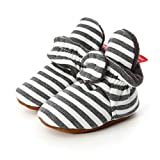 Botas de Niño Calcetín Invierno Soft Sole Crib Raya de Caliente Boots de Algodón para Bebés (12-18 Meses, Raya - Negro Claro, Tamaño de Etiqueta 13)