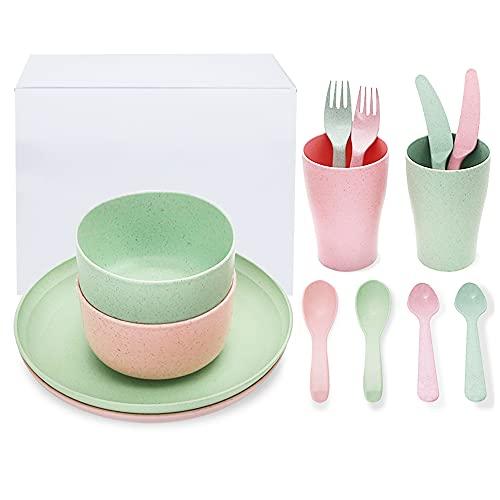 PUDSIRN - Set da pranzo in paglia di grano, piatti sani leggeri ed ecologici, cucchiaio, ciotole, tazze e posate per bambini e adulti (set da 2)
