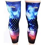 COOLOMG 1 Pair Basketball Knee Pads for Kids Youth Adult Nebula Galaxy NASA Long Leg Knee Sleeves Protector Gear EVA NASA Small