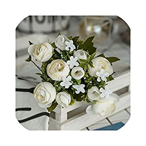 Small-lucky-shop 28Cm/11In Rose White Silk Camellia Artificial Flowers Bouquet 10 Big Head Fake Flowers for Home Wedding Decoration Indoor