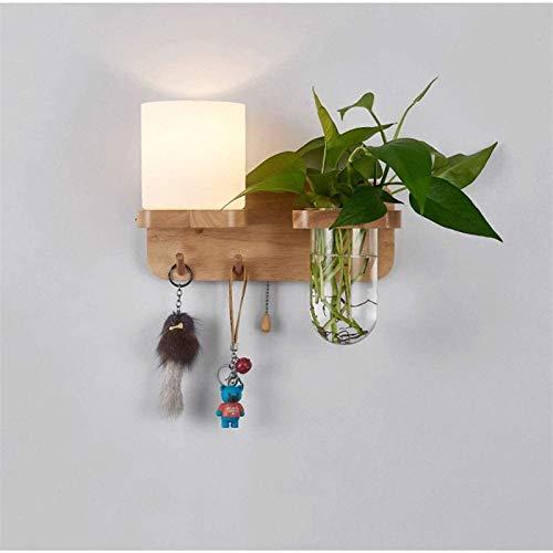 Aplique de pared industrial LED, Lámpara de pared de la noche de madera, lámpara de pared de planta verde con gancho de joyería colgante, luz de pared de vidrio, luz de pared de madera maciza con inte