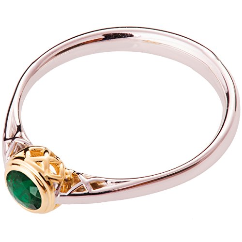 18k White and Yellow Gold Celtic Two Tone Emerald Engagement Ring For Women Promise Band Knot Woven Braided
