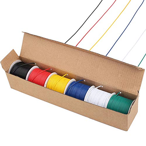 LotFancy 22AWG Stranded Wire, 6 Colors (30 Feet/9 M Each) Electrical Wire, UL Listed, Tinned Copper Hookup Wire Kit 22 Gauge 300V for DIY, Flexible, PVC Insulated