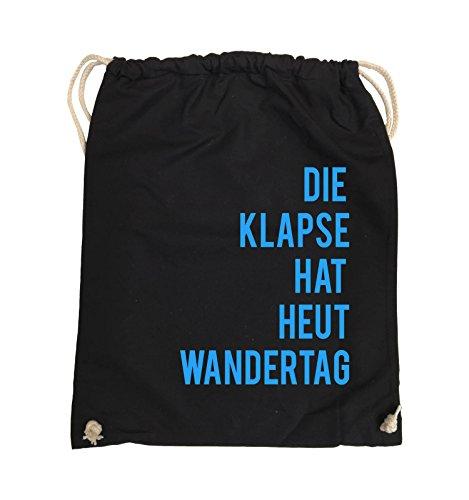 Comedy Bags - DIE Klapse HAT HEUT Wandertag - Turnbeutel - 37x46cm - Farbe: Schwarz/Blau