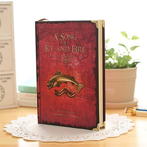 kitei Cuaderno Cuaderno de Cuaderno clásico, Cuaderno de Tapa Dura de Game of Thrones, tamaño: 7.3'X 5', página de línea Horizontal Diario (Color : Red)