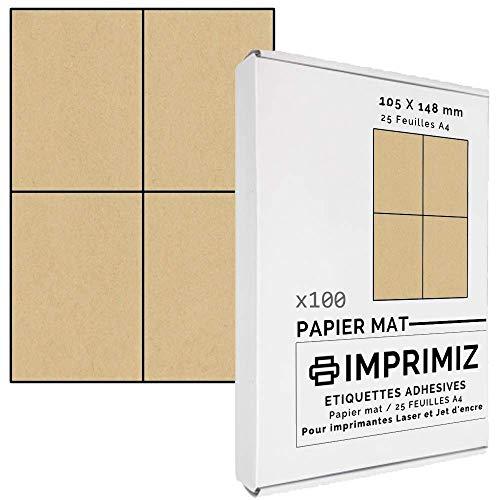 KRAFT Selbstklebende Etiketten, 105 x 148,5 mm, 4 Etiketten/Blatt, für Laser- und Tintenstrahldrucker, 25 Blatt A4