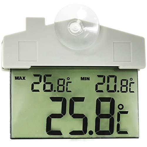 com-four® Außenthermometer mit Saugnapf, digitales Thermometer mit Datums- und Zeitanzeige, wasserdicht (1 Stück - digital)