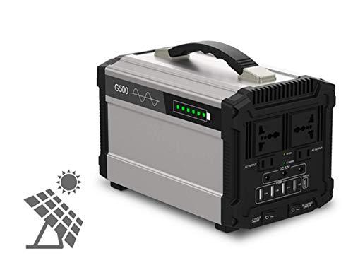 STHfficial 500W LCD Solarstromspeicher Generator Wechselrichter Außen USV Reine Sinus-Stromversorgung USB-Energiespeicher 120000mAH,Silver