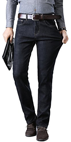 Fredd Marshall Herren Fleece-Futter dünne Winter-Slim Fit Jeans verdicken Warm Stretch 36 9912