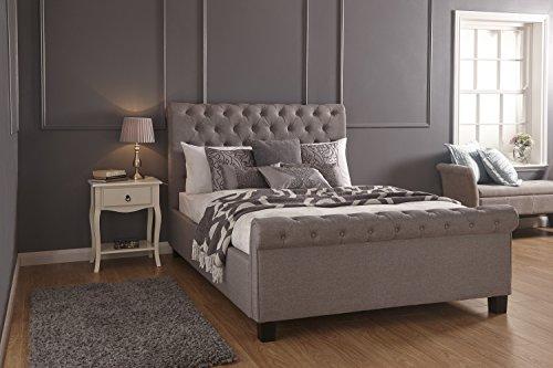 Sofá cama con Cabecera abotonada gris tipo trineo tipo otomana de Home Source, tela, Plateado, Doublé