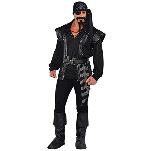 Amscan International 844215-55, Dark Sea Scoundrel, Disfraz de pirata de halloween, 46/48