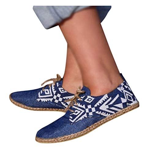 Purchase kaifongfu Womens Flat Shoes Flax Grass Weave Classic Comfortable Breathable Lace Up Sport Sneaker(Blue,37)