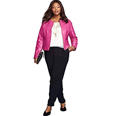 Jessica London Women's Plus Size Collarless Leather Jacket - 16 W, Bright Berry from Jessica London
