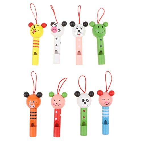 FLAMEER 8X Holzpfeife Miniflöte Blockflöte Pfeife Spielzeug als Geschenk Mitgebsel und Sammeln